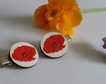 Remembrance Day Hair Clips-Poppy Hair Accessories-Flanders Poppy Hair Clips-Lest We For Forget-Flower Crocodile Clips-Poppy Hair Barrette