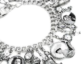 Custom Charm Bracelet, Vintage Movie Star Jewelry, Personalized Movie Star Bracelet, Hollywood Bracelet