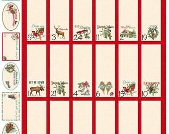 advent calendar, christmas countdown, reusable advent calendar,  skate fabric, mountain lodge, reindeer fabric, quilting panel