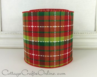 """Christmas Wired Ribbon 4"""", Dark Red, Lime Green, White Stitch Plaid, TEN YARDS, d. stevens """"Tillis Check 100"""", Craft Wire Edge Ribbon"""