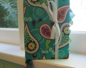 Paisley Days - Unique fabric covered handmade junk journal.