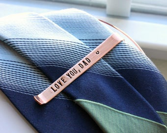 Personalized Copper Hidden Message Tie Bar, Wedding Tie Bar, Groom Gift, Groomsman Gift, Love You Dad Tie Bar, Father of the Groom and Bride