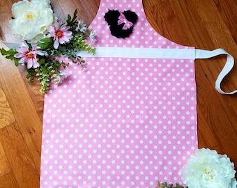 Children's Pink Polka dot Apron, Minnie