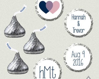 Hershey Kiss Labels, Double Heart Wedding Kisses, Printable Hershey Kiss stickers, Wedding Kiss Favors, customized, monogrammed