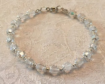Bridal Clear Aurora Borealis Crystal Beaded Bracelet