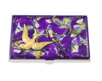 Art Nouveau Bird Inlaid in Hand Painted Enamel Purple Quartz Design Metal Wallet with Enraved Personalized and Custom Color Option