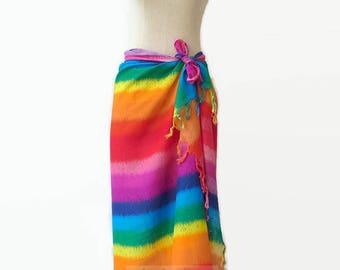 Rainbow Beach Pool Wrap Pareo Sarong Swimsuit Swim Wear Cover Up Large Scarf Shawl Women Bright Rainbow Color no.1