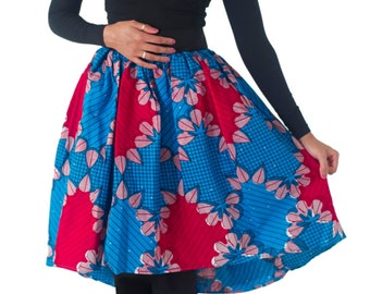 Blue High low African print skirt
