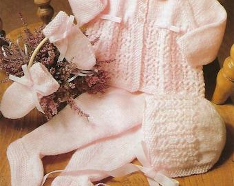 PDF Instant  Digital Download  baby 4 ply pram set knitting pattern 18/21 inch (453)