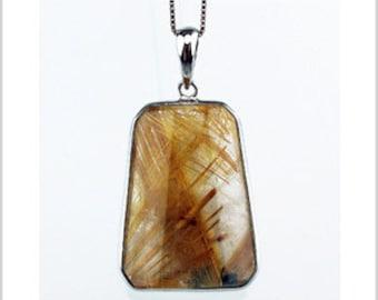EP010405) Gold Rutilated Quartz Pendant, 925 Silver, Octagon Shape