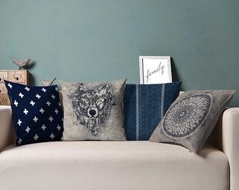 Navy Cushion, Navy Pillow, Navy Throw Pillow, Navy Blue Cushions, Blue Cushions, Blue Pillow, Navy White Cushions