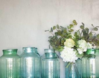 Hungarian Vintage Hand Blown Vase, Glass Flower Vase, Flower Arranging, Fruit Bowl, Vintage pickle vase, Glass, Farmhouse Table, Gift