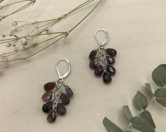 Faceted Tourmaline Cluster Earrings, Sterling Silver Fill Earwire