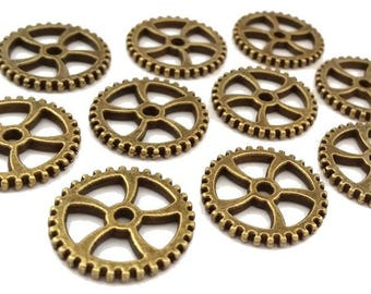 12 charms Steampunk gears antique bronze, re 18mm (BRE321)