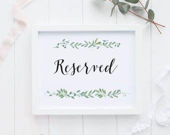 Reserved Printable Wedding Signs Wedding Reception Sign - Reserved Reception Printable Signage PDF Download - (Item code: P126)