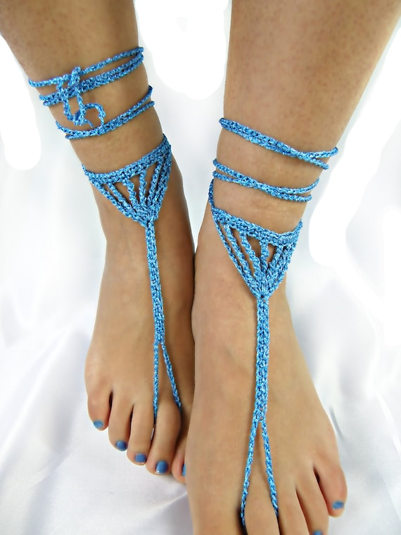 Sparkly blue Wedding shoesChain barefoot sandalswedding foot