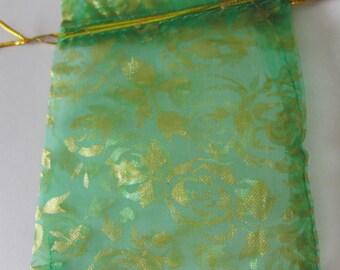 Pocket 12 x 10 cm golden flower green gift bag