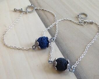 Essential Oil Diffuser Bracelet, Aromatherapy Bracelet, Lava Stone Bracelet, Diffuser Bracelet, Silver Chain Lava Stone Bracelet, Minimalist