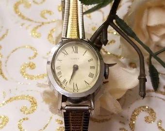 TIMEX, Ladies Windup Wristwatch, Two Tone, Windup, Replaced Band, Adjustable Stainless Band, TIMEX Mechanical Watch