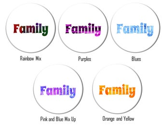 Family 5 Colors to Choose From Word Art Refrigerator Magnet 2 1/4 inches
