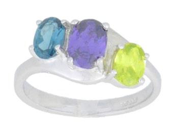 London Blue Topaz Amethyst & Peridot Oval Ring .925 Sterling Silver