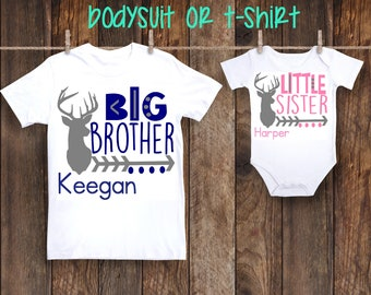 SET Big Brother Little Sister Deer Hunting Shirts Personalized Custom Shirt One piece bodysuit Pregnancy announcement older siblings sis