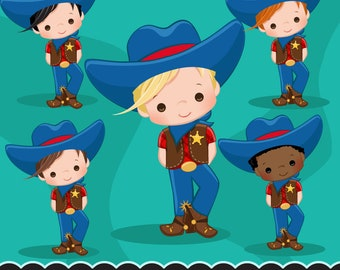 Cowboy Clipart. Wild West Cute Cowboy Clipart- Red & Blue. Cowboy boots, sheriff, horses, cowboy graphics, printables, chore charts, planner