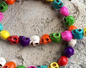SKULLS 12mm by 15mm Beads Strand Multi Colored Howlite Stone