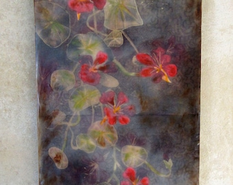 Encaustic art - Nasturtiums  - encaustic with hand painted fabric