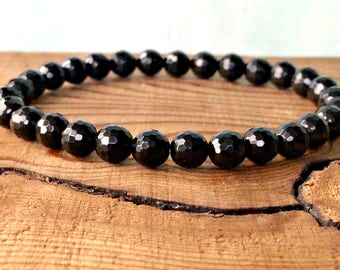 AAA 6mm Faceted Black Tourmaline Bracelet, Healing Crystals, Root Chakra, Yoga Meditation Jewelry, Protection-Emotional Stability-Grounding