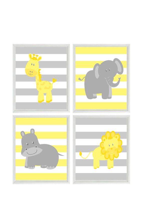 Nursery Wall Art Elephant Giraffe Hippo Lion Safari Print