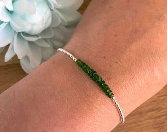 Chrome Diopside Bracelet, Green Bracelet, Dainty, thin, Stacking Bracelet, Gemstone bracelet, Chrome Diopside Jewellery