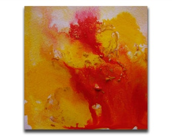 Yellow Red Abstract Art, Original Painting, Art Painting, Square Original Artwork, Home Decor, Acrylic Painting Unique Best Friend Gift
