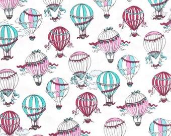 C'Est La Vie Hot Air Balloons White Color ~ Ink & Arrow Fabrics for Quilting Treasures, Quilting Cotton Fabric