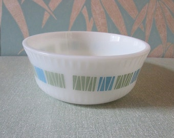 """1960s JAJ Pyrex """"Matchmaker"""" ribbed serving bowl, blue & green colourway"""