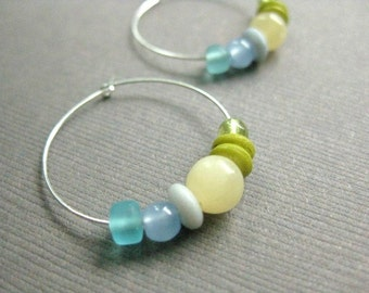 CLEARANCE Hoop Earrings, Aqua, Sky Blue, Soft Yellow and Fresh Green Colors on Silver Hoops, Fresh Colors, E 221