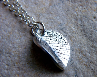 Silver Leaf Imprint necklace by Cari-Jane Hakes, Hybrid Handmade