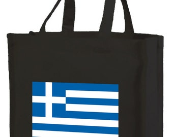 Greek Flag Cotton Shopping Bag with gusset and long handles, 2 colour options