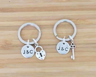 hand stamped keychain   custom initials + charms