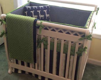 Baby Boy Navy and Green MINI Crib Bedding Made to Order