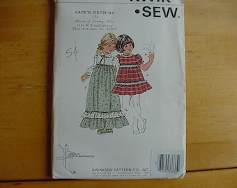 1970's Kwik Sew Pattern 959, Girls High Waisted Dress, Size 5-6-7,  Uncut