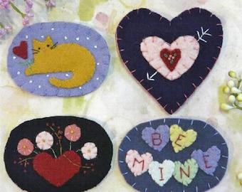 Sweet Valentine Wool Pins Pattern PDF - heart kitty cat conversation candy flowers felt magnet