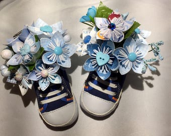 Its a Boy! Baby Shower Centerpieces!  Shoes can be worn by baby! Paper Flower arrangement for baby shower! Baby Boy baby shower gift!