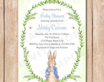 Peter Rabbit Baby Shower Invitation | Vegetable, Neutral, Vintage, Shabby Chic, Watercolor - 1.00 each printed