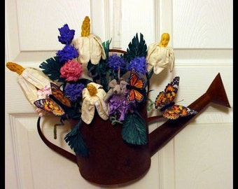 Metal Watering Can with Handmade Fabric Flowers, Leaves, Butterflies and Mouse