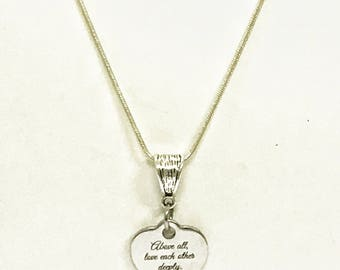 Christian Jewelry Gifts, Scripture Jewelry, Bible Verse Jewelry, Above All Love Each Other Deeply Silver Necklace, 1 Peter 4:8 Scripture