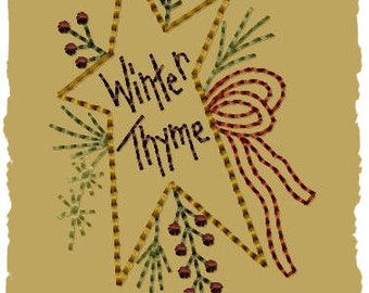 Prim Winter Wreath (Star)- Machine Embroidery Design~Version 2-(4x4)-INSTANT DOWNLOAD