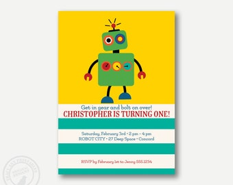 ROBOT Birthday Invitation | Printable invitation | Boy Birthday | Robot Party Invite | 1086