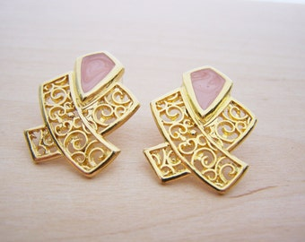 Vintage Gold Tone Open Metalwork Enameled Pink Post Earrings - Gift for Her - A250