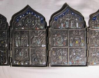 19th Century Antique Quadriptych Icon
